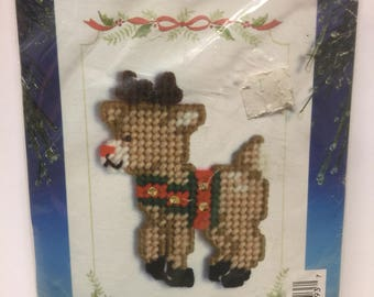 Christmas Greeting Card Kit Felt Reindeer by Design Works, Vintage Christmas Kit