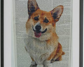 Corgi Print No.470, corgi art, corgi poster, dog poster, dog art, dog print, dog home decor, welsh corgi, dictionary page prints