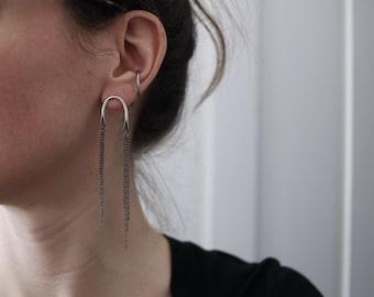 U-bone cascade post earrings, oxidized sterling silver