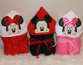 Mickey or Minnie Mouse Hooded Towel Designs