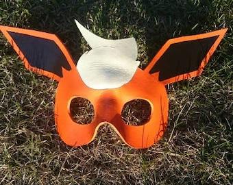 Leather Flareon mask / Pokemon mask / Cosplay mask / Eevee Mask