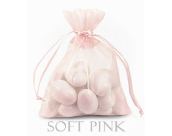 10 Soft  Pink Organza Bags, 12 x 14 Inch Sheer Fabric Pink Favor Bags
