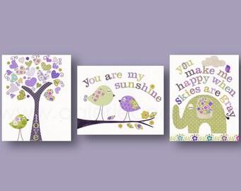 baby room wall art nursery decor baby girl Nursery Art - Purple green Nursery Decor tree bird elephant - You are my sunshine Set of 3 prints