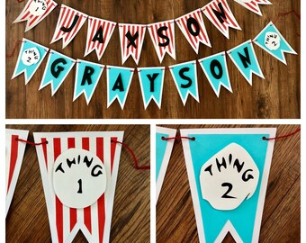 Thing 1 thing 1 name banner, Dr Seuss name banner, Dr Seuss, Cat in the Hat, Thing 1 Thing 2, Thing One Thing Two