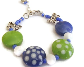 Blue Green Glass Bead. Polka Dot Bracelet. Butterflies. Summer Jewlery. Spring. Whimsical B36