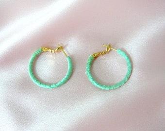 Mint green hoop earrings, green silk earrings, fabric wrapped hoops, dainty earrings, boho hoops, minimal hoop earrings, gold plated hoops
