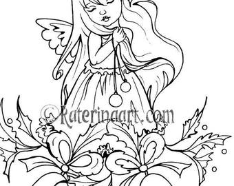 Christmas Bells Little Angel/Fairy Coloring Page  Instant Download Digital Stamp Fantasy art katerinaart