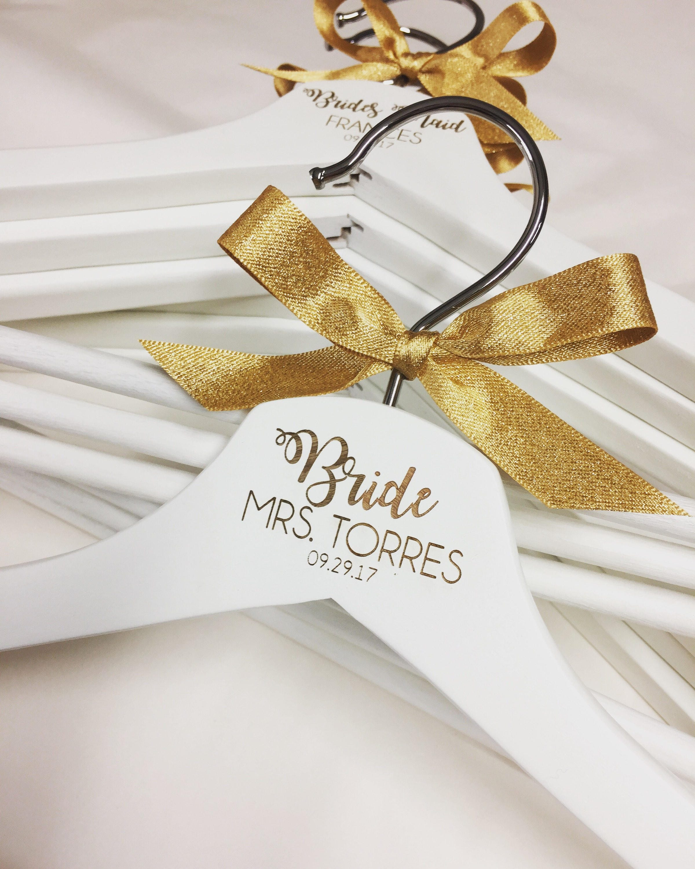 Personalised gold wedding hangers Bridal party hangers