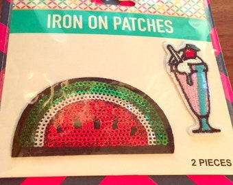 Iron on patches-Watermelon  & Ice cream  Sundae