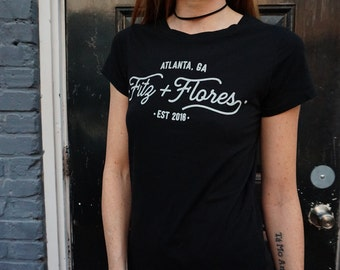 Fitz and Flores Girl T - T-shirt with our Cursive Logo / Moto Motorcycle Gear