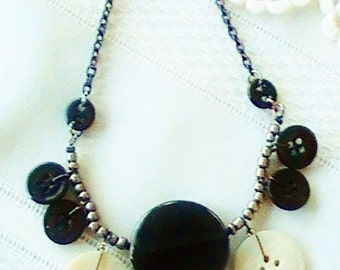 Vintage Button Necklace  Black Jewelry  Black and Grey Necklace