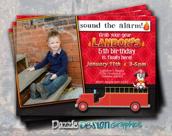 Printable Firetruck Birthday Invitation, Sound the Alarm! fire fireman birthday invite, #722 Digital File or Professional Prints