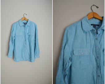 vintage sky blue linen blend button down breezy blouse shirt top -- womens petite large