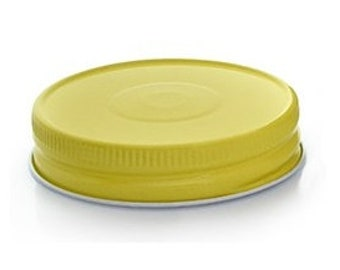 12 pcs Yellow Mason Jar Lid with Safety Button for Regular Mouth Mason Jars - BPA Free, Plastisol Lined, Made in USA