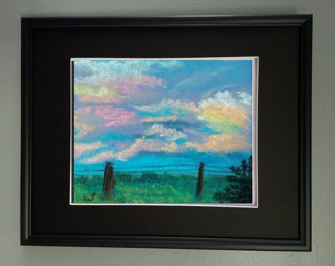 "8x10 Original Signed Soft Pastel Painting, Sky Artwork, ""Happy Clouds"""