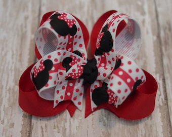 """Minnie Hair Bow Boutique  Layered 4"""" Hairbow Red & Black"""