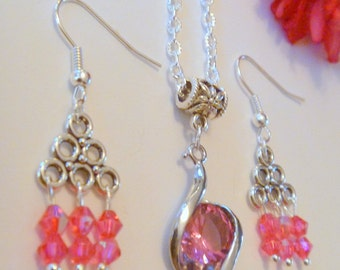 Pink Crystal Pendant Necklace with Pink Crystal Beaded Chandelier Earrings Set