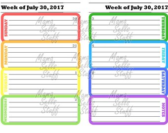 2018/2019 Printable Planner Weekly Calendar January December Junior Size Color Rainbow Discbound Happy Plan Circa TUL ARC Erin Condren MAMBI