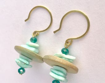 Earrings mint green shell raw brass vintage wood repurposed from vintage
