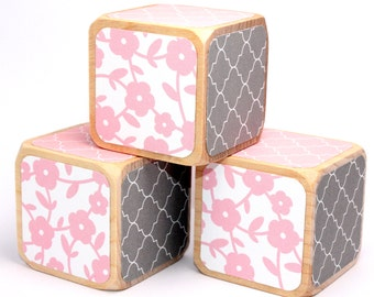 Pink and Grey Nursery - Baby Girl - Baby Shower Gift - Baby Shower Decor - Shabby Chic - 2 Inch Blocks