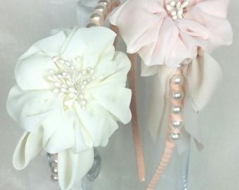 pearl headband. pearl and flower headband . ladies headband. girls headband. flower girl headband. wedding headband