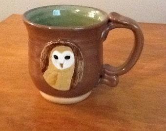Unique Pottery Mug Owl Design