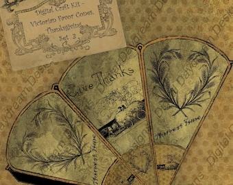 Instant Download Digital Printable Thanksgiving Victorian Favor Cone Kit Set 3 Instant Download
