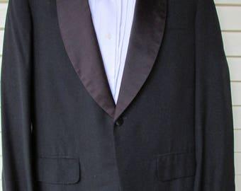 Vintage Tuxedo Jacket Blazer 1950s Black Wool Satin Lapel Hipster Formal Suit Coat 38