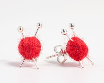 Red Ball of Wool and Knitting Needle Earrings - miniature studs