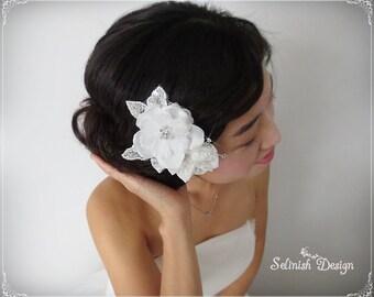 Wedding Hair Accessories, Bridal Headpiece, Flower Headpiece, Wedding Flower, Bridal Flower Fascinator, Wedding Flower Fascinator-HP153lucy