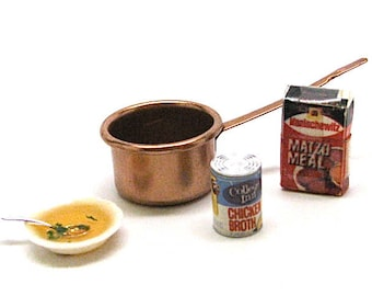 Dollhouse Food, Matzo Ball Soup Kit, Copper Pan, Bowl of Soup, Box of Matzo, Can Broth, Miniature,Kitchen,Mini,Miniaturist,Hobby, 1:12 Scale
