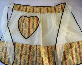 Vintage Accessory Half Apron Yellow Brown Print Organza 1960's Heart Pocket