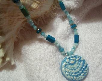 Turquoise Blue Ceramic Round Necklace