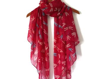 Spring Summer scarf / Women Scarves / Dragonfly Scarf / Infinity Scarves / Mothers Day Gift / Mom Gift / Fashion Accessories / Gifts For Her