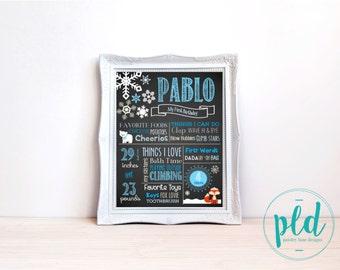 Winter ONEderland Birthday Chalkboard Print - Blue 16x20