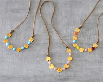 Bohemian Beaded Necklace,  Minimal Leather Necklace,  Gold Modern Necklace,  Long Necklace,  Free Shipping