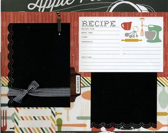 Apple Pie Recipe - Premade Scrapbook Page