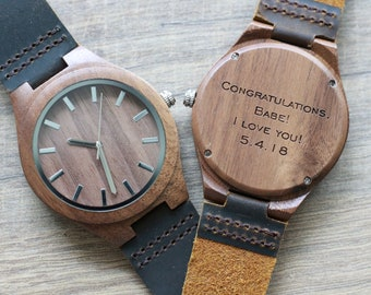 Wood Watch, Wooden Watch, Groomsmen Watches, 5th Anniversary gifts, Graduation watch, Engraved Fathers day gift, Boyfriend gifts, Wood Watch
