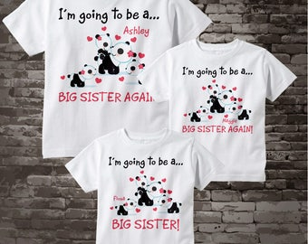 Set of three, Big Sister Again, Big Sister Again and Big Sister with matching set of Tee shirts or Onesies with cute panda bears 08112017d