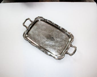 Large Vintage Silverplate Butler Tray Rogers Serving Tray with Handles