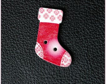Christmas socks pattern wooden buttons 12 x 1