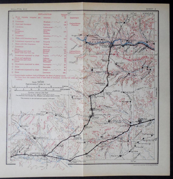 1915 Kansas Antique Railroad Map Topeka Meriden Carbondale