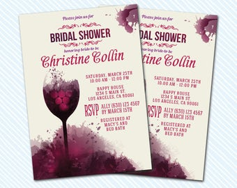 Digital Printable Bridal Shower Invitation. Wine Tasting Invite