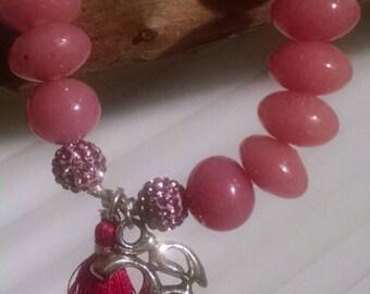 Stylish stacking stretch bracelet w glass beads swarovski pave beads silk tassle and Ohm charm OOAK SRAJD