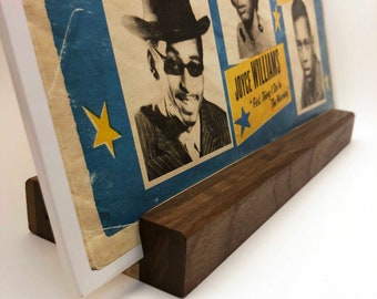 Vinyl Record Stand - Walnut and Spalted Maple Wood - Dual Function Now Playing LP Display - Hand-Made in USA