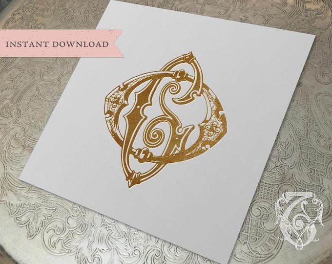 Vintage Wedding Monogram OG GO Digital Download G O