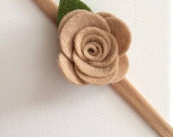 Neutral wool felt flower headband - ready to ship