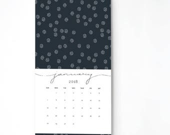 2018 Monthly Wall Calendar, 9.5 x 17.25, Wall Calendar, Gift for Her  (cal0009)