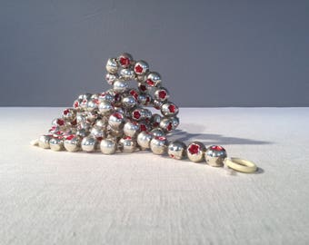 Glass Bead Garland - Vintage Silver Mercury Glass Christmas Decorations - Red Stars - Mid-Century Tree Trimming - Holiday Decor