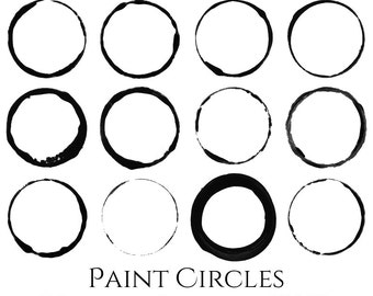 Paint Circles - 12 Brushes for Photoshop, 12 300 dpi PNG files, Commercial Use
